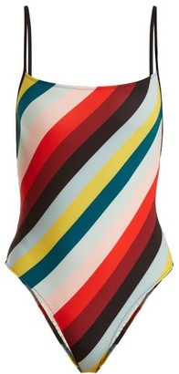 Solid & Striped The Chelsea Striped Swimsuit - Womens - Red Multi