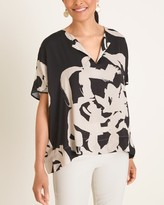 Chico's Chicos Abstract Floral Split-Neck Blouse