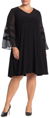 Nina Leonard Chiffon Sleeve Jewel Neck Dress