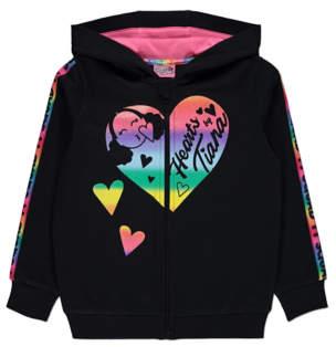 George Hearts By Tiana Black Rainbow Tape Zip Up Hoodie