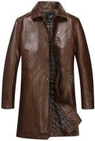 JIAX Men's Casual Trench big yards PU Leather Long Coat Jacket