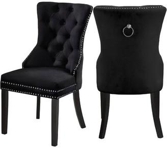 Darby Home Co Stonefort Tufted Velvet Upholstered Dining Chair Darby Home Co Upholstery Color: Velvet Black