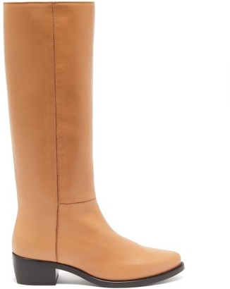 LEGRES Knee-high Leather Riding Boots - Tan