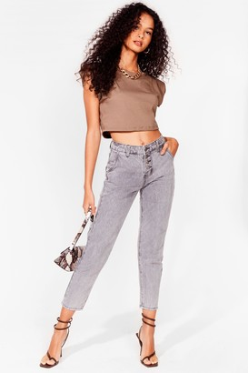 Nasty Gal Womens It Don't Jean a Thing High-Waisted Mom Jeans - Grey