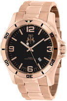Jivago Ultimate Mens Black Dial Rose-Tone Stainless Steel Bracelet Watch