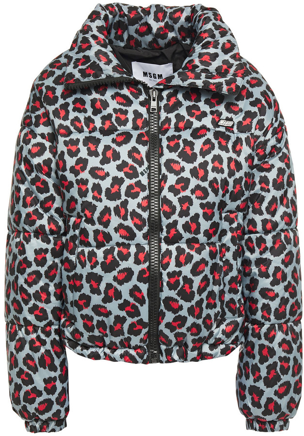 MSGM Quilted Leopard-print Shell Jacket