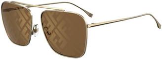 Fendi Square Metal FF Lenses Sunglasses