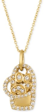 "LeVian Le Vian Nude Diamond Paw, Heart & Dog Tag Charm 20"" Pendant Necklace (1/3 ct. t.w.) in 14k Gold"