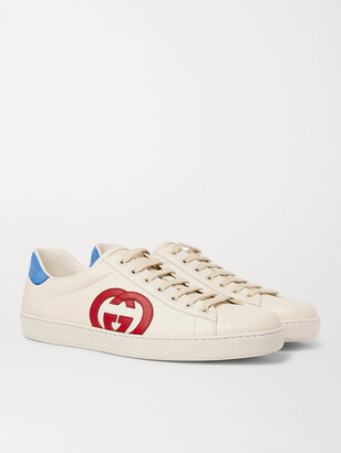Gucci Ace Nubuck-Trimmed Leather Sneakers