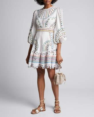 Zimmermann Peggy Short Embroidered Linen Dress