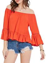 Kalin L Women Dazzling 3/4 Ruffles Stitching Sleeve Blouse Shirt Top (M)