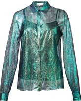 DELPOZO iridescent lace shirt - women - Silk - 36