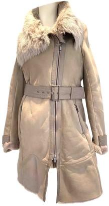 Pinko Beige Leather Coat for Women