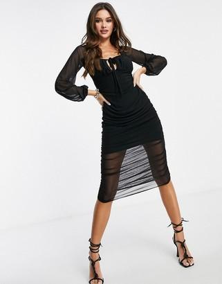 I SAW IT FIRST mesh tie front midi dress in black