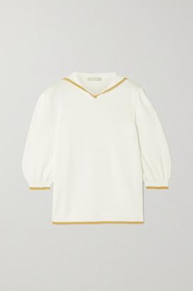 USISI SISTER Sailor Two-tone Cotton-blend Top - White