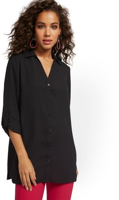 New York & Co. Roll Tab Button-Down Tunic Blouse