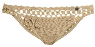 She Made Me Jannah Cheeky Crochet Bikini Briefs - Womens - Tan