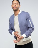 Asos Bomber Jacket With Sleeve Zip In Blue with Ecru Rib