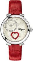 Salvatore Ferragamo Women's Swiss Cuore Diamond (1/6 ct. t.w.) Red Leather Strap Watch 39mm FE203 0016