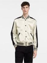 Calvin Klein Contrast Trim Nylon Satin Varsity Jacket