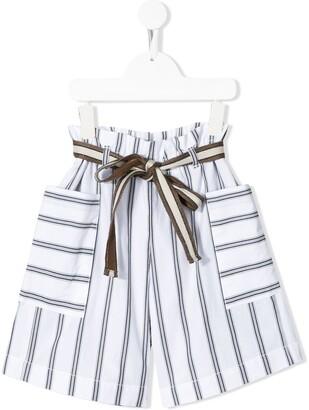 BRUNELLO CUCINELLI KIDS Striped Belted Shorts