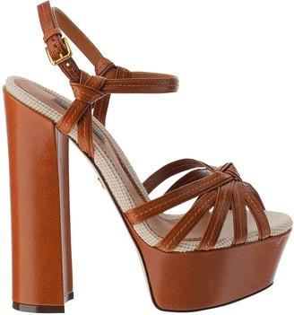 Dolce & Gabbana Keira Brown Leather High Heel Platform Sandals