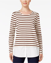 Style&Co. Style & Co Striped Layered-Look Top, Only at Macy's