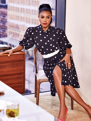 New York & Co. Petite Dot-Print Puff-Sleeve Shirtdress