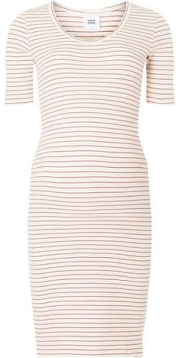 Mama Licious Womens **Mamalicious Maternity Oatmeal Striped Midi Shift Dress