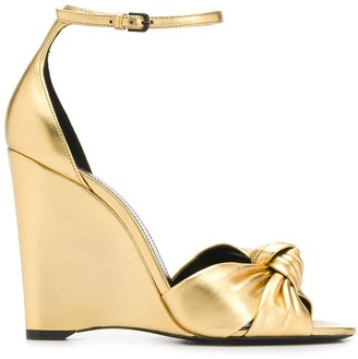 Saint Laurent 95mm Knot Wedge Sandals