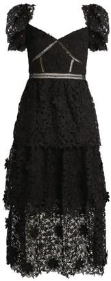 Self-Portrait Floral Lace Tiered Midi Dress