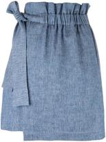 MSGM elasticated waistband detail skirt - women - Cotton/Linen/Flax - 40