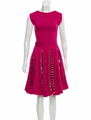 Maison Rabih Kayrouz Wool Cutout Dress Magenta