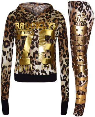 A2Z 4 Kids Girls Top Kids Brooklyn 76 Print Hooded Crop Top & Legging - Brklyn Hooded Crop Set Pink & Gold 11-12