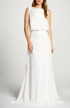 Tadashi Shoji Blouson Crepe Wedding Dress