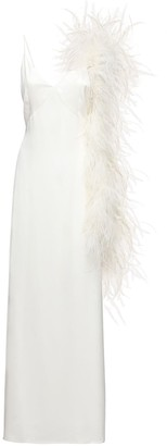 Magda Butrym Exclusive Silk Slip Dress W/Feather Boa