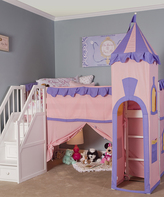 White Princess Loft Bed with Stairs