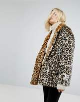 Maison Scotch Leopard Faux Fur Coat