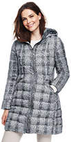 Lands' End Women's Tall Lightweight Down Hooded Coat-Gray Rain Glen Plaid