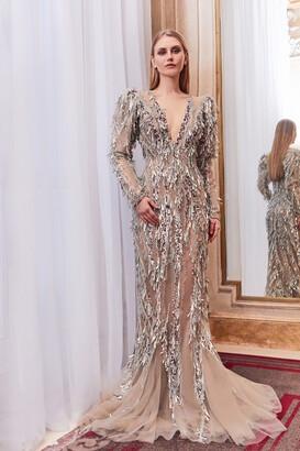 Gatti Nolli by Marwan Long Sleeve Fringe Embellished Gown