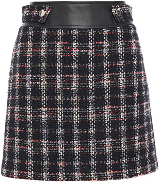 Maje Faux Leather-trimmed Checked Tweed Mini Skirt