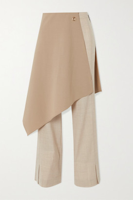 ANDERSSON BELL Tina Layered Crepe De Chine-trimmed Wool Flared Pants - Beige
