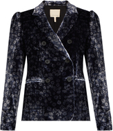 Rebecca Taylor Liane double-breasted floral-print velvet jacket