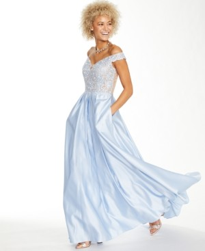 Blondie Nites Juniors' Off-The-Shoulder Embroidered Satin Gown