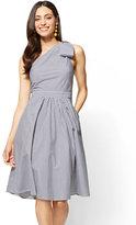 New York & Co. One-Shoulder Fit and Flare Dress - Poplin - Stripe