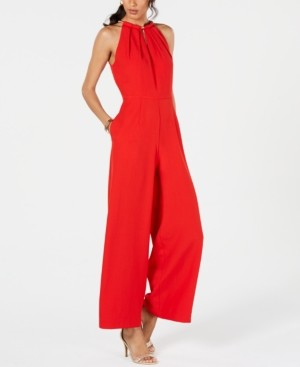 Donna Ricco Sleeveless Hardware-Embellished Jumpsuit