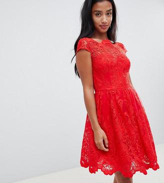 Chi Chi London premium lace midi prom dress in red