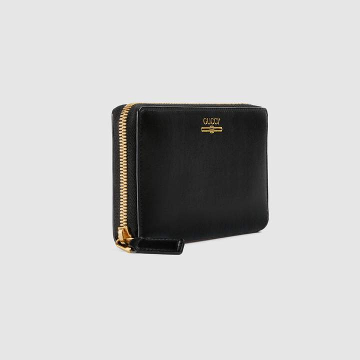 Gucci Leather zip around wallet with logo