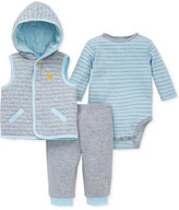 Little Me 3-Pc. Striped Hooded Vest, Bodysuit & Pants Set, Baby Boys