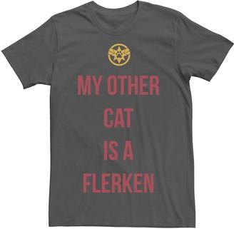 Marvel Men's Captain My Other Cat Is A Flerken Bold Logo Graphic Tee